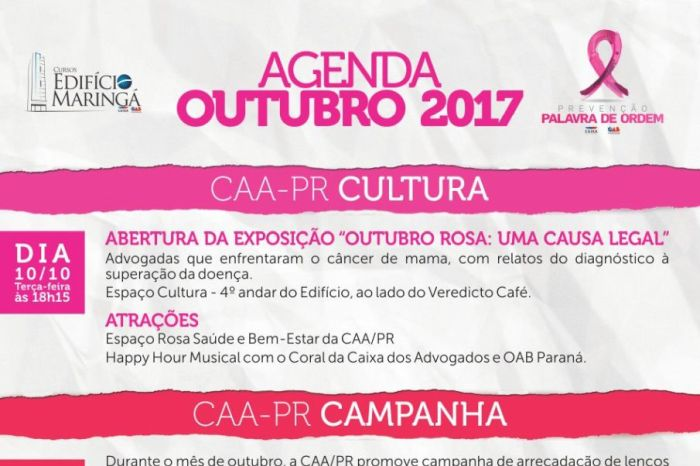 Agenda de Outubro do Edifício Maringá terá início nesta terça-feira