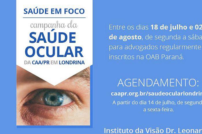 Campanha da Saúde Ocular em Londrina começa na próxima semana