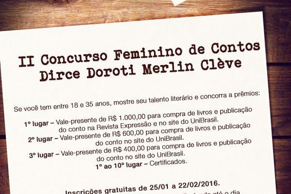 Inscrições para o II Concurso de Contos do UniBrasil começam nesta segunda-feira