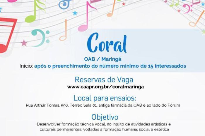 CAA/PR anuncia expansão do projeto do Coral para a Subseção de Maringá