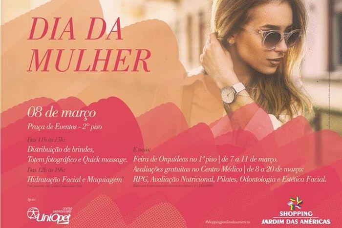 Espaço da Mulher terá atividades gratuitas no Shopping Jardim das Américas