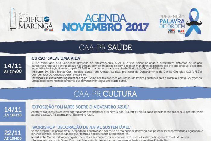 Agenda de Novembro do Edifício Maringá da CAA/PR traz atividades diversificadas