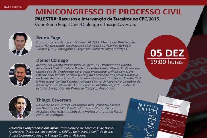 CAA apoia Minicongresso de Processo Civil que vai acontecer na OAB Londrina