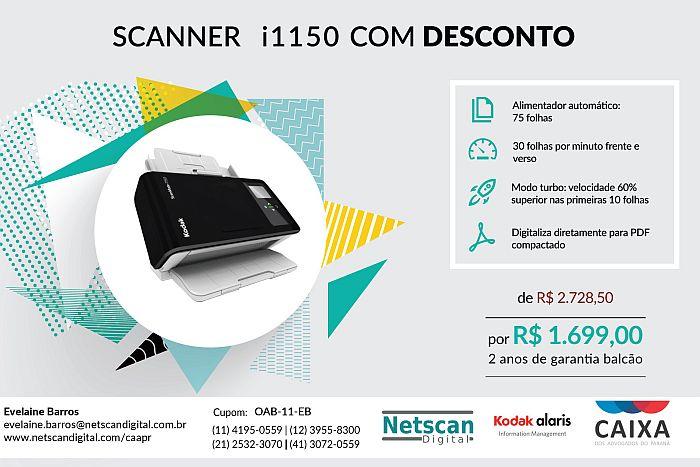 Scanner Kodak i1150 com quase 40% de desconto para advogados da OAB Paraná