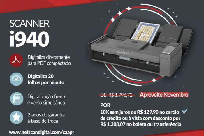 Campanha promocional de scanner com desconto especial para advogados