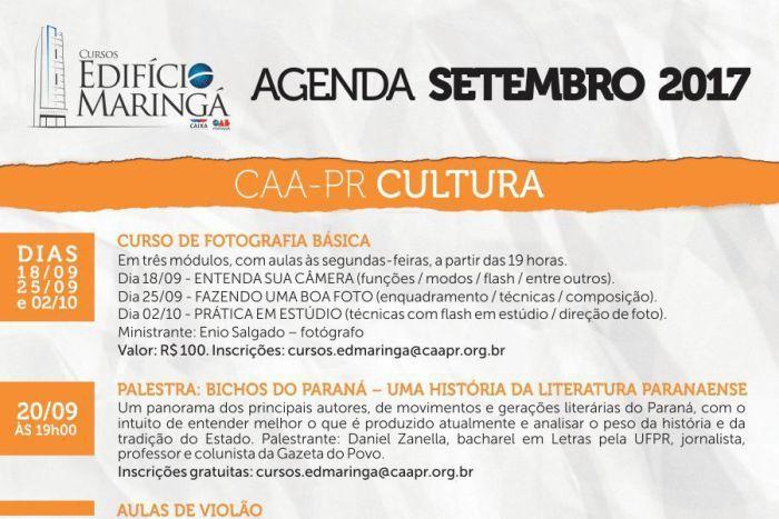 CAA-PR divulga programação de setembro no Edifício Maringá