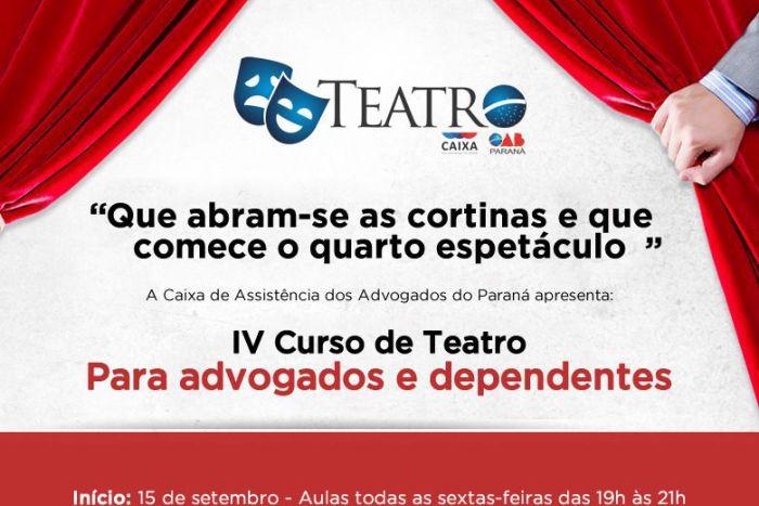 Inscrições abertas para o IV Curso de Teatro da Caixa dos Advogados